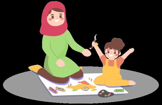 مادر و دختری در حال نقاشی کشیدن